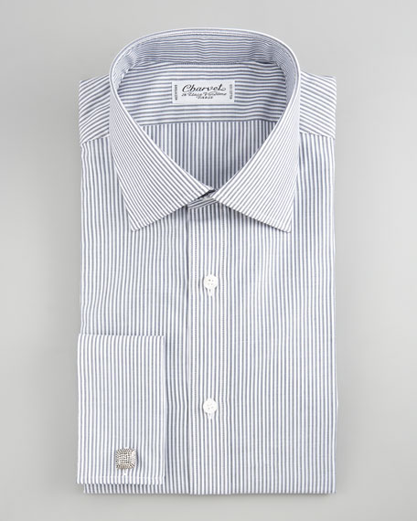 Striped French-Cuff Dress Shirt, Gray/White