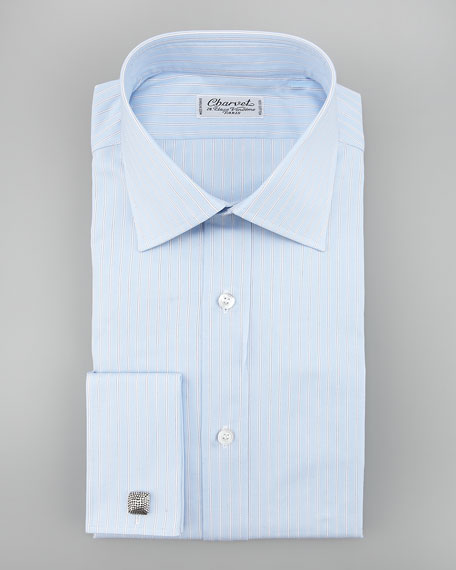 Pinstripe French-Cuff Dress Shirt