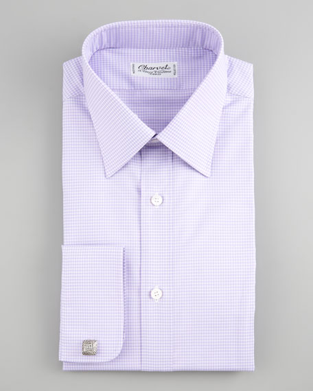Mini-Check Dress Shirt, Lavender