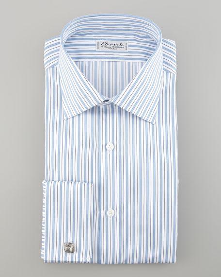 Striped French-Cuff Dress Shirt, White/Blue