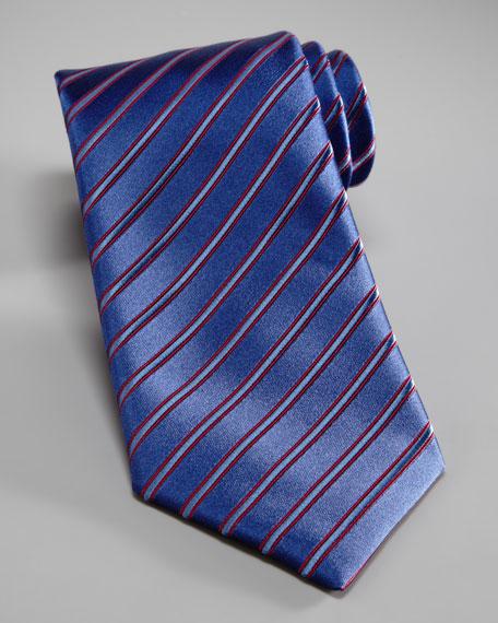 Wide-Stripe Silk Tie, Blue/Red