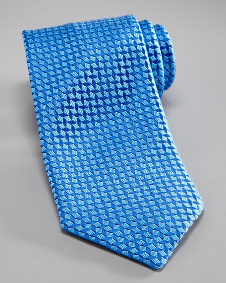 Basketweave Silk Tie, Blue