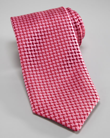 Basket Weave Silk Tie, Red