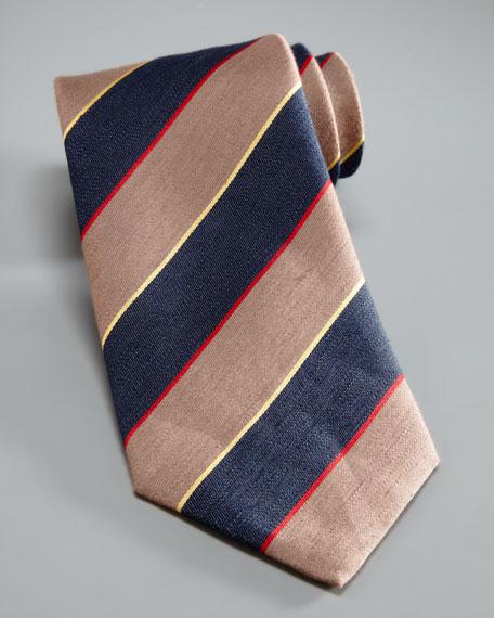 Bold-Stripe Silk Tie, Tan/Navy