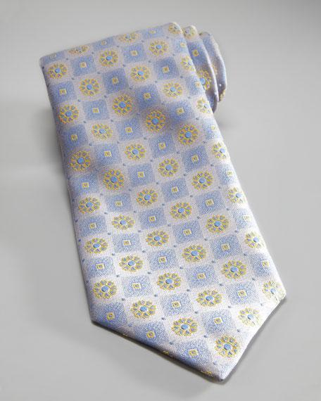 Flower & Square Silk Tie, Silver