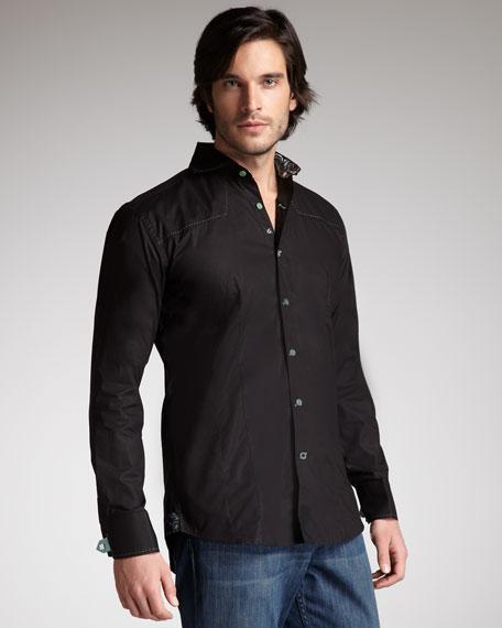 Contrast-Trim Poplin Shirt