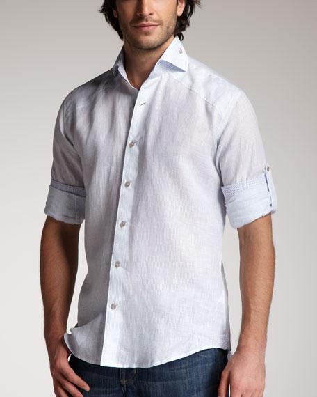 Striped Linen Shirt, Blue