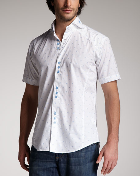 Short-Sleeve Jacquard Shirt, Baby Blue