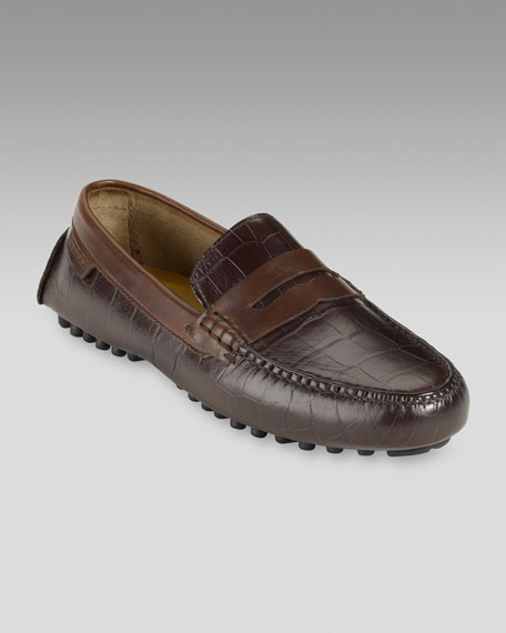 Air Grant Croc-Print Penny Loafer, Brown