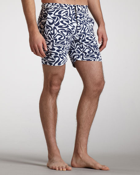 Bulldog Water-Print Swim Shorts, Navy