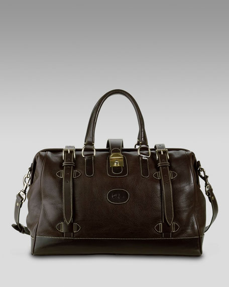 Frame-Top Leather Duffel Bag, Brown