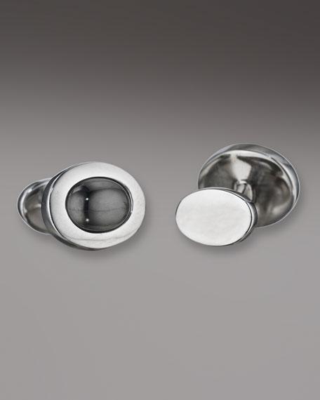 Hematite Oval Cuff Links