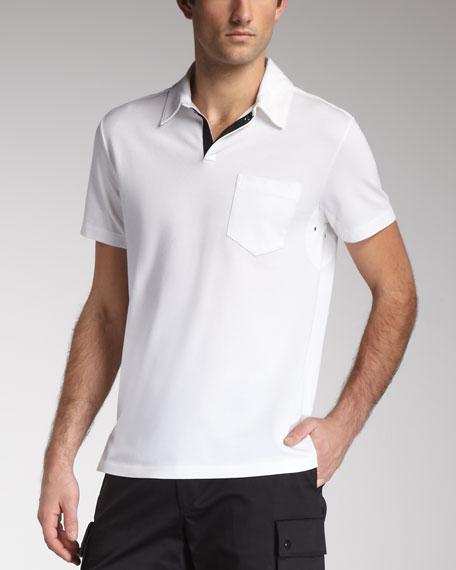 Snap-Placket Mesh Polo, Pure White