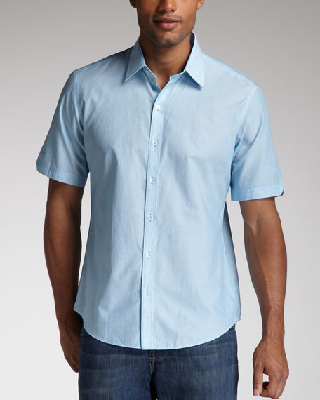Kelleher Fine-Stripe Short-Sleeve Shirt