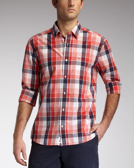 Slim-Fit Plaid Sport Shirt, Pink/Red/Navy