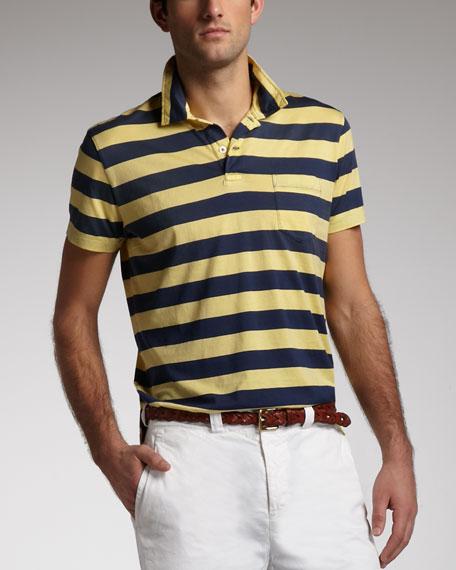 Striped Polo, Lemon/Navy