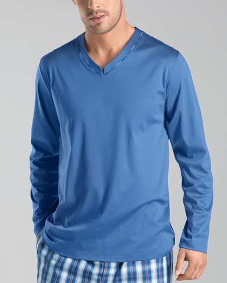 Long Island Mercerized Pajama Shirt, Light Blue