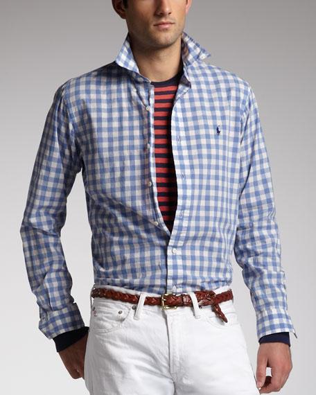 Check Sport Shirt, Blue/White