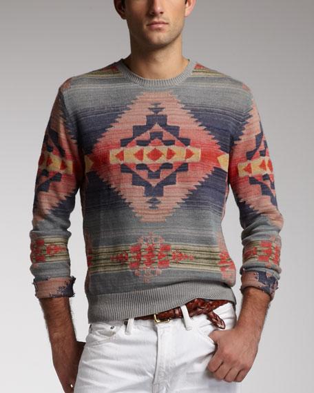 Southwestern Linen-Blend Sweater