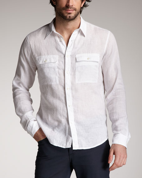 Two-Pocket Linen Shirt, White