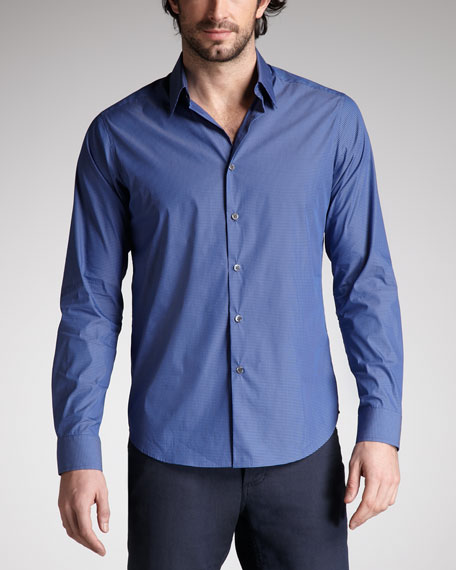 Micro-Check Stretch Sport Shirt, Purple