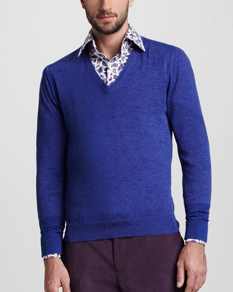 V-Neck Chevron-Detail Sweater
