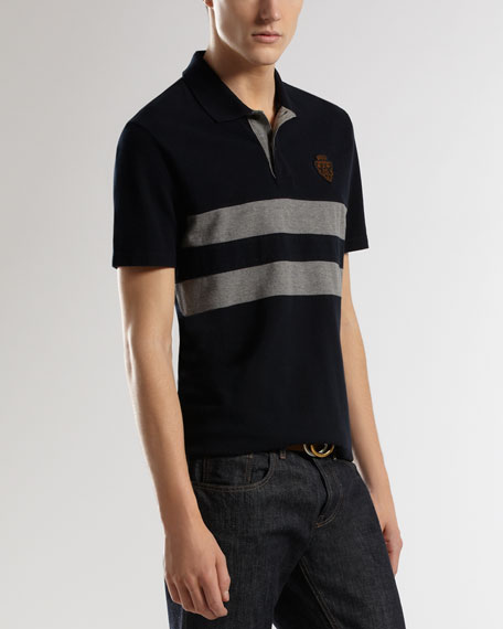 Crest-Patch Striped Short-Sleeve Polo, Dark Blue