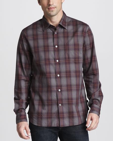 Spray-Dye Plaid Shirt