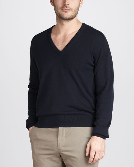 Cashmere-Silk V-Neck Sweater, Navy