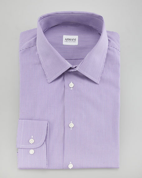 Modern Fit Check Dress Shirt, Purple