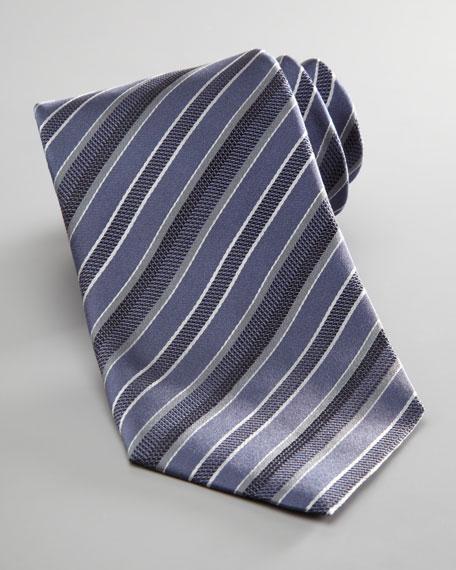 Striped Silk Tie, Blue/Gray