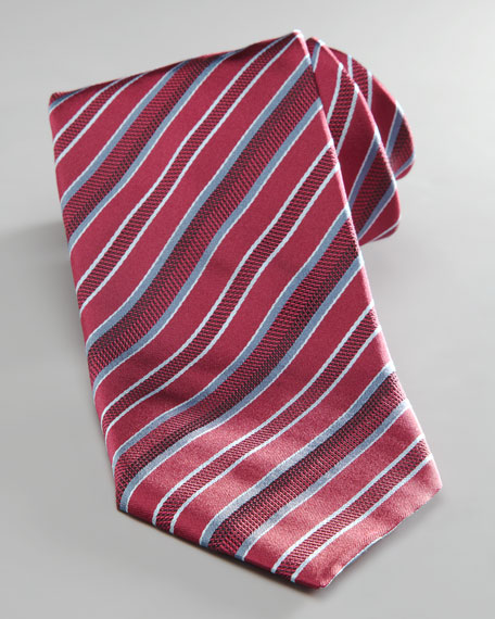 Mixed Stripe Tie, Red