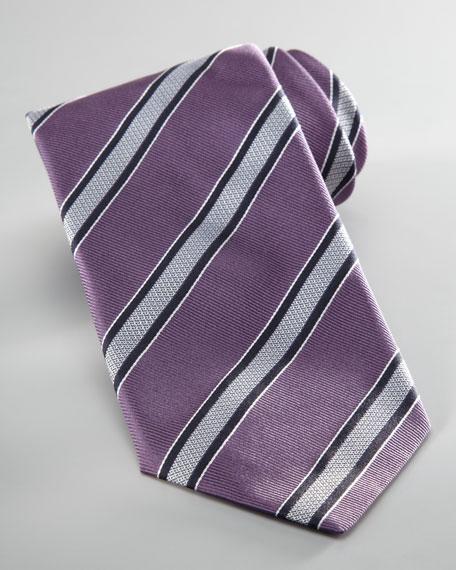 Striped Silk Tie, Purple/Gray