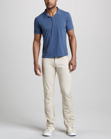 Straight-Leg Twill Pants, Stone