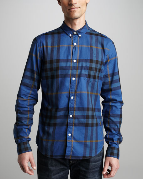 Check Sport Shirt, Bright Cobalt Blue