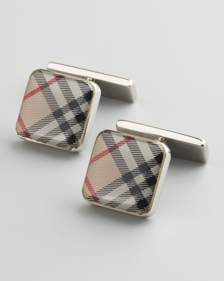 Check Enamel Cuff Links, Trench