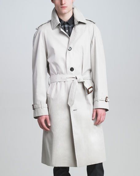 Single-Breasted Poly-Cotton Trenchcoat