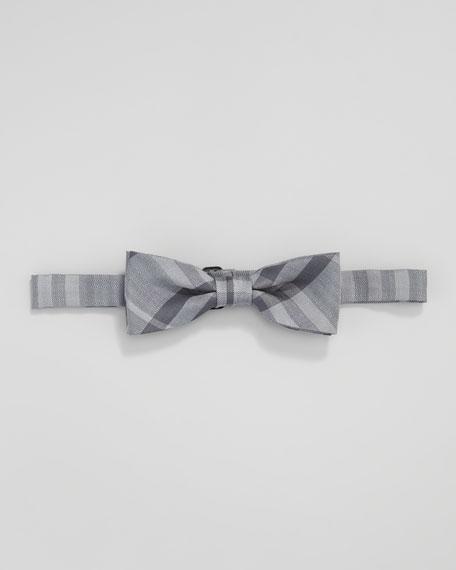 Check Pre-Tied Silk Bow Tie, Slate Blue