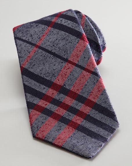 Skinny Textured Plaid Tie, Black/Red