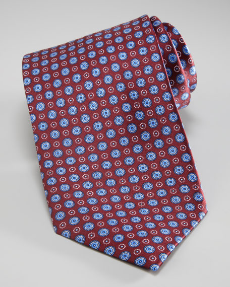 Small Medallion Tie, Burgundy
