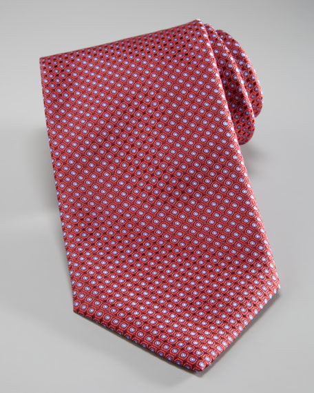 Dots Woven Tie, Red/Light Blue