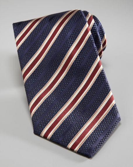 Stripe Woven Tie, Navy/Gold