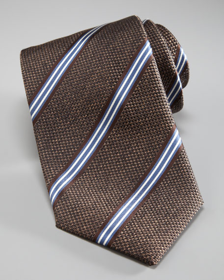 Woven Tie With Stripes, Brown