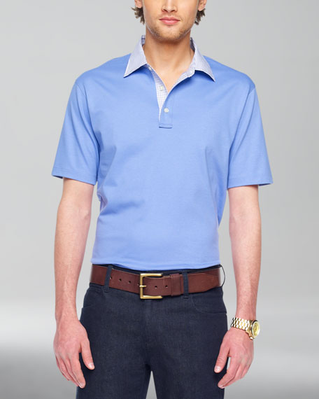 Contrast-Collar Polo, Pacific