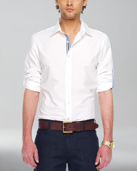 Ribbon-Trim Shirt, White