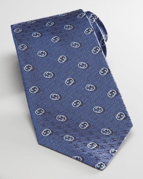 New GG Logo Tie, Blue