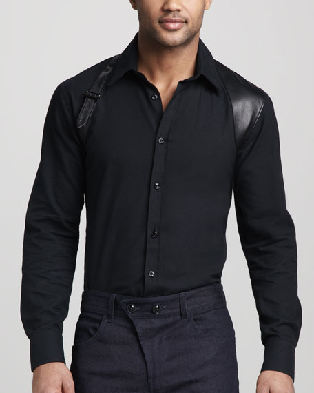 Leather-Trim Harness Shirt