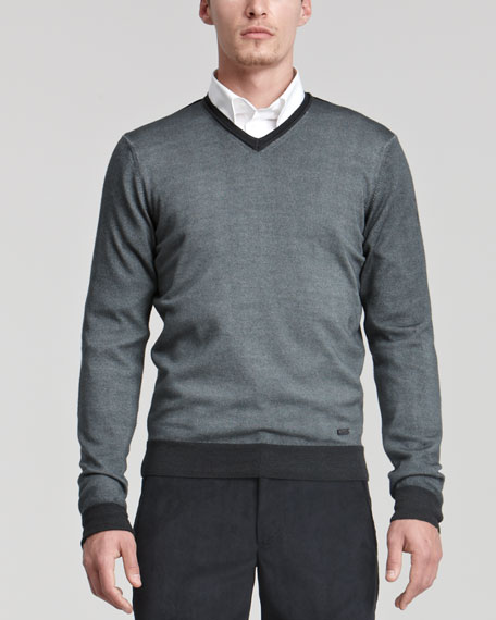 V-Neck Sweater, Gray