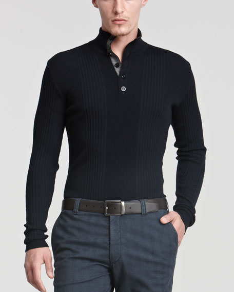 Ribbed Button Henley