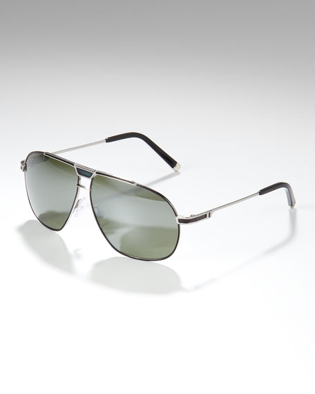 Metal Aviator Sunglasses, Light Ruthenium/Black